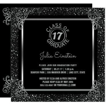 Beach Themed Elegant 2017 Graduation Party Black Silver Glitter Card