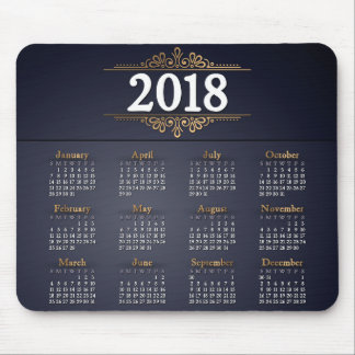 Elegant 2018 Gold and Blue Calendar   Mousepad