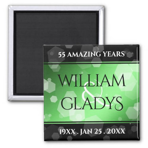Elegant 20th 55th Emerald Wedding Anniversary Magnet
