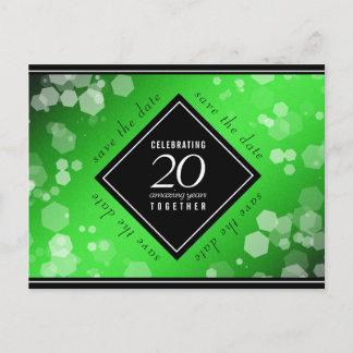 Elegant 20th Emerald Wedding Anniversary Announcement Postcard