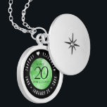 """Elegant 20th Emerald Wedding Anniversary Locket Necklace<br><div class=""""desc"""">Commemorate the 20th wedding anniversary with this elegant locket! Elegant black serif and sans serif lettering with hexagonal confetti on an emerald green background add a memorable touch for this special occasion and extraordinary milestone. Customize with the happy couple's names, and dates for their emerald anniversary. Design © W.H. Sim,...</div>"""