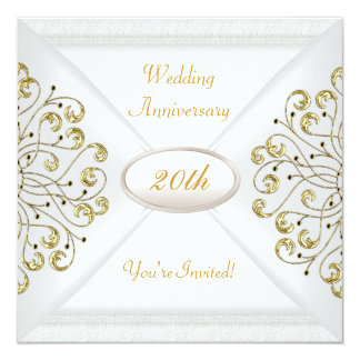 Elegant  20th Wedding Anniversary White Gold Card
