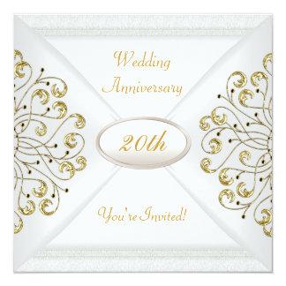 Elegant  20th Wedding Anniversary White Gold Invitation