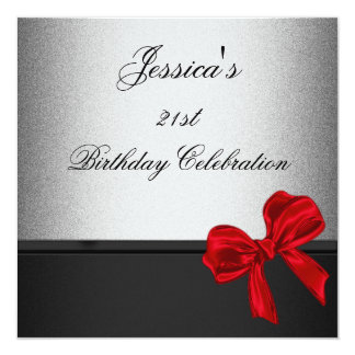 Elegant 21st Birthday Black Silver Red Bow Metal Card