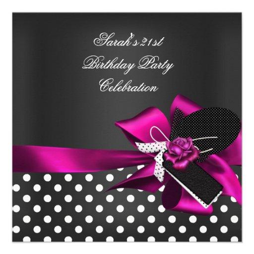Elegant 21st Birthday Black Spot White Pink Rose 2 Announcements