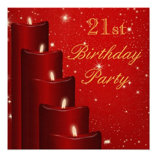Elegant 21st Birthday Candles With Sparkle Invite