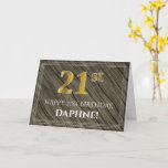 [ Thumbnail: Elegant 21st Birthday: Faux Wood, Faux Gold Look Card ]