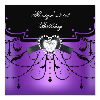 Elegant 21st Birthday Party Purple Black Diamond Card