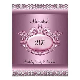 Elegant 21st Birthday Party Satin Pink Silver Trim Card