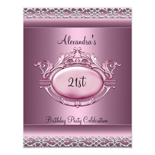 elegant 21st birthday party satin pink silver trim personalized invitation - Elegant Party Invitations