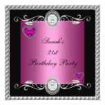 Elegant 21st Birthday Pink Black Heart Jewel Invitation