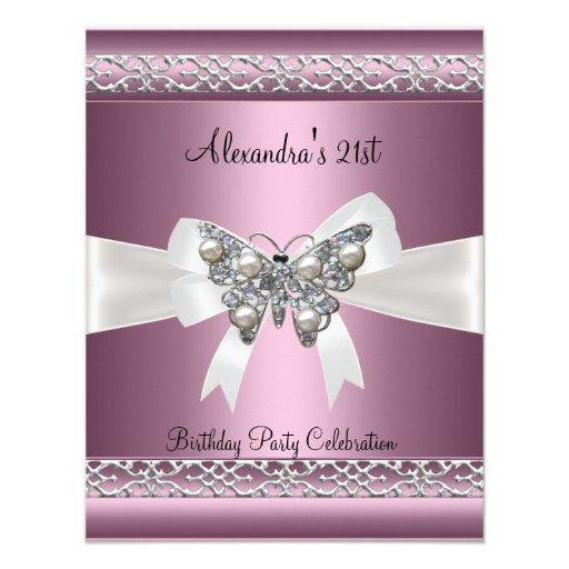 Elegant 21st Birthday Satin Pink Butterfly Jewel Custom Announcements