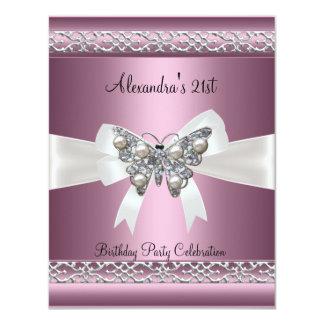Elegant 21st Birthday Satin Pink Butterfly Jewel 4.25x5.5 Paper Invitation Card
