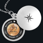 """Elegant 22nd Copper Wedding Anniversary Locket Necklace<br><div class=""""desc"""">Commemorate the 22nd wedding anniversary with this elegant locket! Elegant black serif and sans serif lettering with hexagonal confetti on a copper foil background add a memorable touch for this special occasion and extraordinary milestone. Customize with the happy couple's names, and dates for their copper anniversary. Design © W.H. Sim,...</div>"""