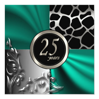 Elegant 25 Years Party Template in Teal & Silver Card