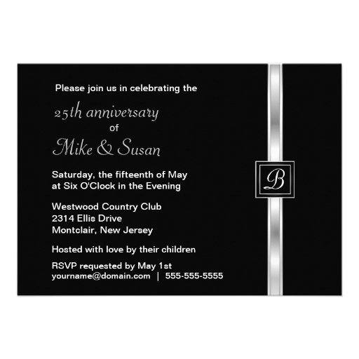 Elegant 25th Anniversary Party Invitation (back side)