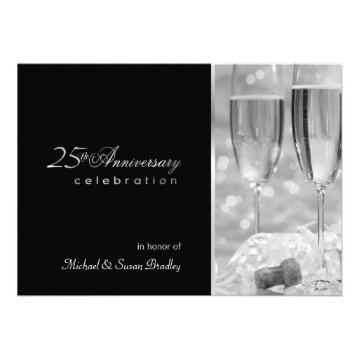 Elegant 25th Anniversary Party Invitation