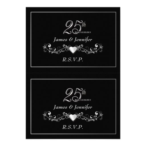 Personalized 25th anniversary invitations custominvitations4u elegant 25th anniversary party rsvp reply cards personalized invitations stopboris Image collections