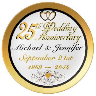 Elegant 25th Anniversary Porcelain Plate