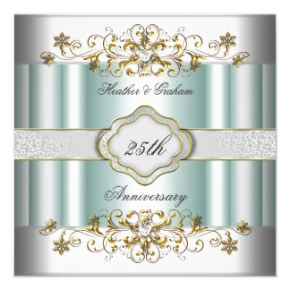 Elegant 25th Anniversary Silver Teal Blue Mint 5.25x5.25 Square Paper Invitation Card
