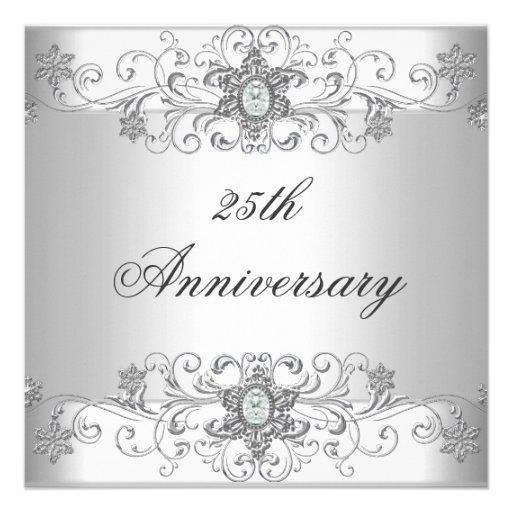 Elegant 25th Anniversary Silver White Diamond Personalized Invitation