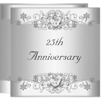 Elegant 25th Anniversary Silver White Diamond Invitation