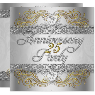 Elegant 25th Anniversary Silver White Gold Party Invitation