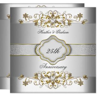 Elegant 25th Anniversary Silver White Gold Templat Invitation