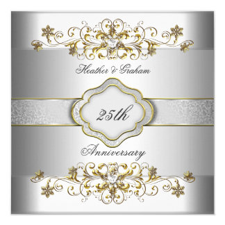 "Elegant 25th Anniversary Silver White Gold Templat 5.25"" Square Invitation Card"
