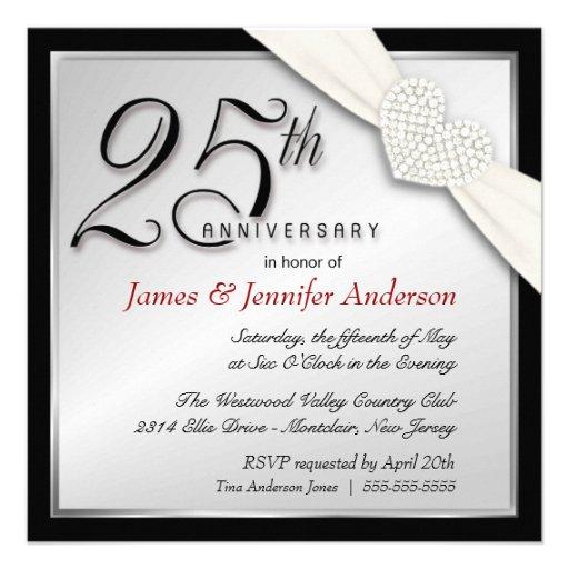 Elegant 25th Silver Anniversary Party Invitations