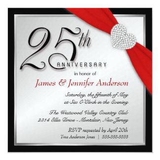 """Elegant 25th Silver Anniversary Party Invitations 5.25"""" Square Invitation Card"""