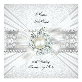 Elegant 25th Silver Anniversary Party Lace Pearl Card