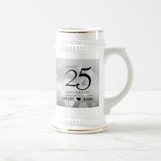 Elegant 25th Silver Wedding Anniversary Beer Stein