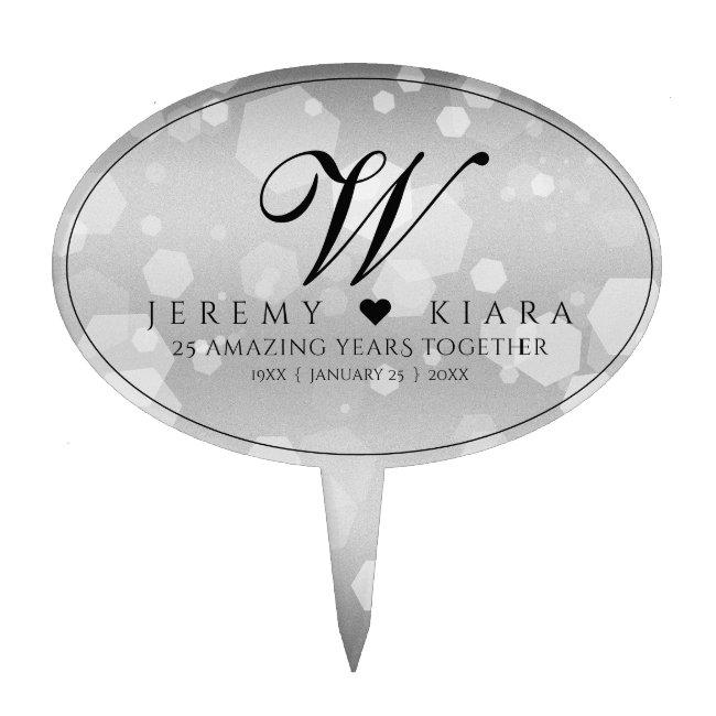Elegant 25th Silver Wedding Anniversary Cake Topper