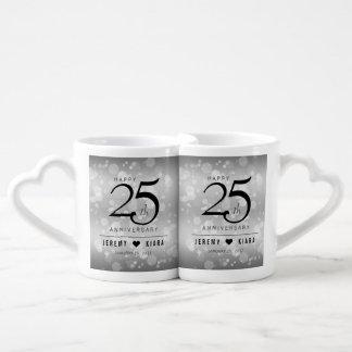 Elegant 25th Silver Wedding Anniversary Coffee Mug Set