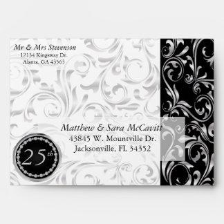 Elegant 25th Silver Wedding Anniversary Envelope