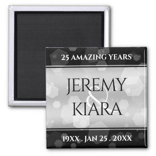 Elegant 25th Silver Wedding Anniversary Magnet