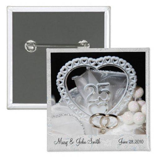 Elegant 25th Wedding Anniversary Button Zazzle