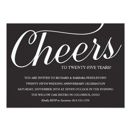 25th Wedding Anniversary Gift Experiences : Elegant 25th Wedding Anniversary Party Invitation Zazzle