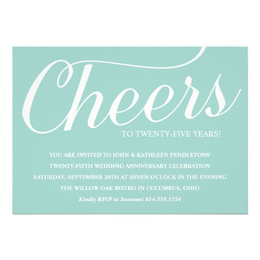 Elegant 25th Wedding Anniversary Party Invitation (front side)