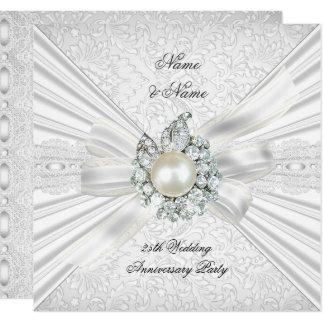 Elegant 25th Wedding Anniversary Party Lace White Invitation