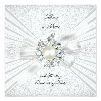 "Elegant 25th Wedding Anniversary Party Lace White 5.25"" Square Invitation Card"