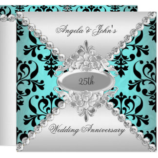 Elegant 25th Wedding Anniversary Teal Blue Damask Invitation