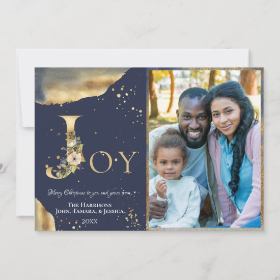 Elegant 2 Photo Gold Floral Blue Joy Christmas Holiday Card