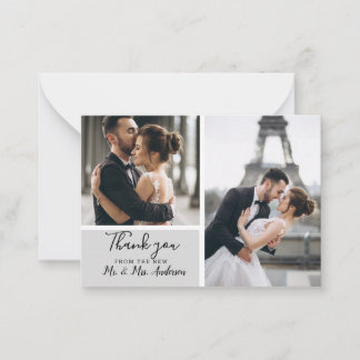 Elegant 2 photo Grey Mini Thank you Wedding Note Card