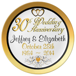 Elegant 30th Anniversary Porcelain Plate