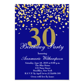 Elegant 30th Birthday Invitation Gold Confetti