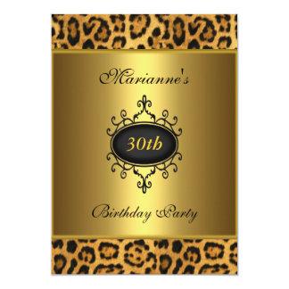 Elegant 30th Birthday Leopard Black Antique Jewel Card