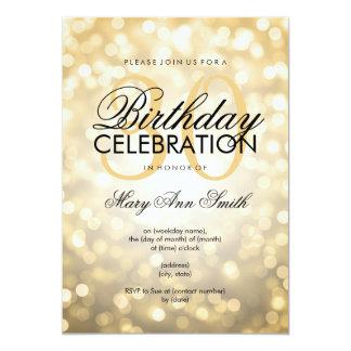 Elegant 30th Birthday Party Gold Glitter Lights 5x7 Paper Invitation Card