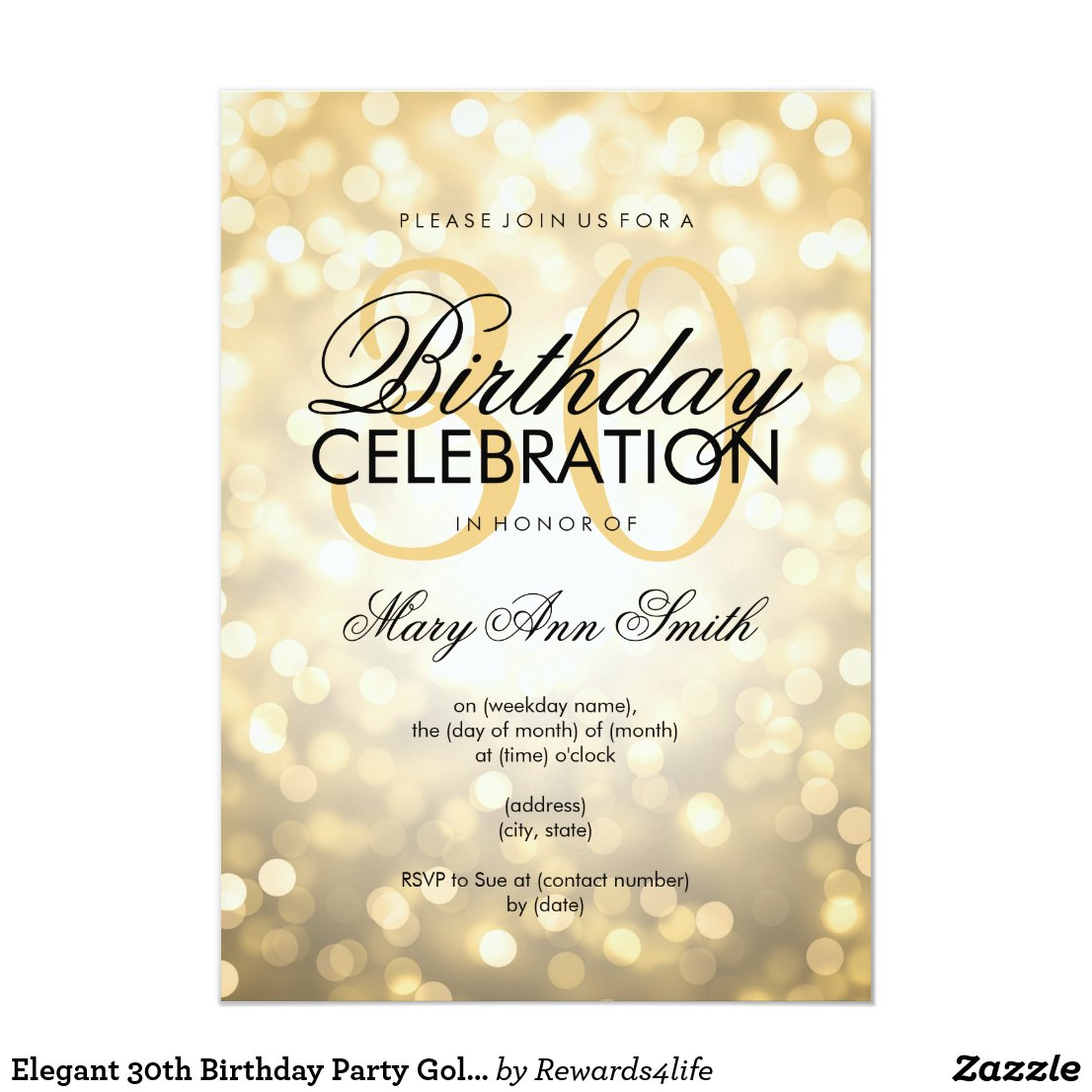 Elegant 30th Birthday Party Gold Glitter Lights Invitation
